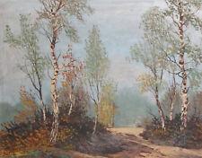 Vintage forest landscape oil painting signed