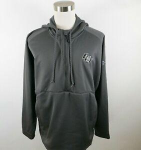 Under Armour Mens Polyester LS 1/2 Zip Dark Gray Hoodie Sweatshirt XXL EHT Logo