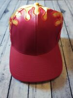 HOT Vintage Fire Yellow & Red Flames Baseball Cap Hat Adjustable Hook And Loop