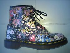 DOC DR. MARTENS BLACK FLORAL BOOTS MADE IN ENGLAND RARE VINTAGE 6UK US: WOMENS 8