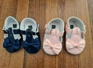 2 x Girl Toddler Baby Bowknot Soft Sole Prewalker Navy & Pink Shoes 6-12 Months