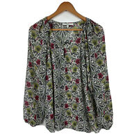 Next Womens Blouse Size 14 Floral Long Sleeve Sheer Good Condition