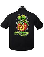 Steady Clothing RAT FINK Mouse Garage Bowling Shirt Retro Vintage Authenitc New