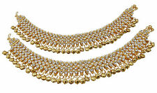 Jwellmart Indian Bollywood Bridal Wedding Gold Polish CZ Anklets Free Shipping