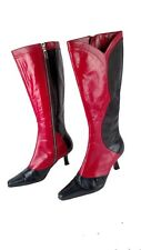ANN MARINO womens 7 M Black Red zip fashion goth boots knee high WALKED IN ONCE!