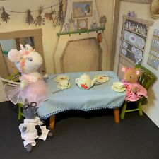 Vtg 2000 Angelina Ballerina Retired Kitchen Table, Chairs, Dishes American Girl