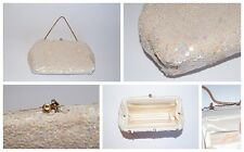 Vintage Josef Hand Beaded in France Clutch With Chain Handle Cream Iridescence