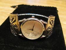 Vintage Sterling Large Bold Aztec Design Unisex Watch w/ S.Steel Expansion Band