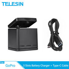TELESIN 3 Way Battery Charger Box w/ Type-C Cable Storage For GoPro Hero 5 6 7 8