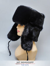 SAGA Black MINK FUR Hat Russian Ushanka Trooper Nerz Chapka Fellmütze Fell Mütze