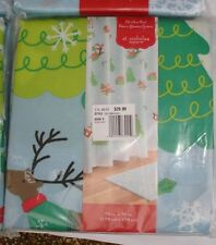 New Winter Scene Fabric Shower Curtain Christmas Snowflake Tree Reindeer Snowman