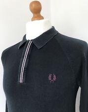 Fred Perry | Long Sleeve Raglan Tipped Knitted Polo Shirt Medium (Black)