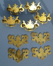 5 Antique Style Brass Bat Wing Chippendale Drawer Pulls + 4 plates
