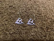 Girls Purple Fish Dangle Earrings GUC