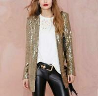 Womens punk Silver Gold Suit Blazer Sequin Coat Long Bling Shinny motor Jacket #