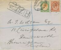 SOUTH AFRICA 1920, George V 1 1/2 D and 4 D on very fine R-cover from PRETORIA