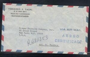ECUADOR Registered Cover Guayaquil to New York City 11-12-1967 Cancel