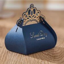 100pcs Luxury Navy Blue Candy Boxes Wedding Favor Box Gold Crown Craft Sweet
