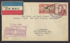 MEXICO 1928 FIRST FLIGHT MEXICO NUEVO LAREDO SAN LOIS OOTOSI MEXICO SEATTLE WASH