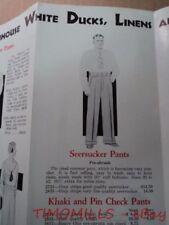 1931 Shanhouse Seersucker White Duck Pants Catalog Brochure Vintage Rockford IL
