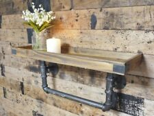 Industrial Style Pipe Shelf Wooden Metal Floating Wall Display Book DVD Storage