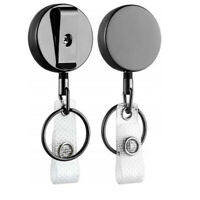 Retractable Badge Holder Reel Name Card Keychain Metal ID Belt Clip Keyrings#ZJA