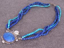 Vintage Collar turquesa y lapislázuli Hebras A 950 PLATA sección central