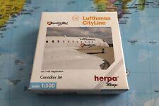 Herpa Lufthansa Cityline Canadair Jet 1:500 with Reg: D-ACJC - RARE