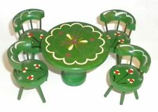 Dollhouse Furniture 1950's ~ Hand Painted Kitchen Drum Table + 4 Barrell Chairs