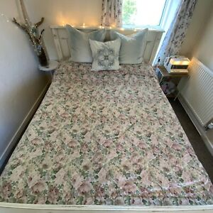 Vintage Super King Size Romantic Roses Bedspread Quilt Shabby Chic Bedding