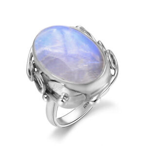 925 Silver Vintage Natural Rainbow Moonstone Antique Design Women Jewelry Rings