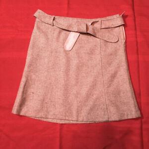 H&M - SKIRT - Woven Pink Tweed Wool - Side Zip & Belt - Women Size 10