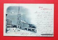 Mondschein AK GABLONZ an der Neiße 1898 Platz bei der evang. Kirche   ( 35916