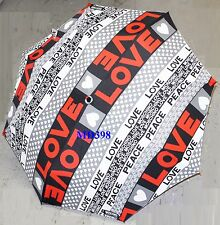 Moschino Cheap & Chic GRAY LOVE PEACE AUTO Umbrella Rain Sun Women Lady Gift NWT