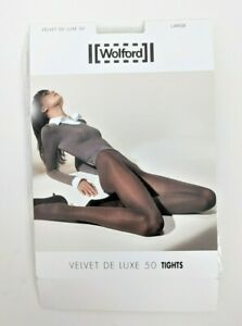 NEW Wolford Velvet De Luxe Black Tights, Sz Large