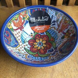 Il Mulino Dip Salsa Guacamole Footed Serving BOWL Melamine SPANISH TILE Blue NWT