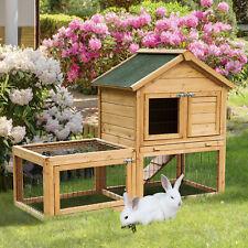 Rabbit Hutch Small Animal House w/ Outdoor Run Portable Backyard Wooden