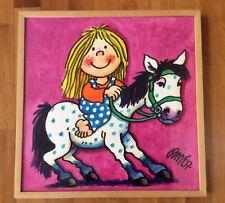 Original Aquarell Gemälde von Lutz Mauder, Kind mit Pony, signiert, mit Rahmen
