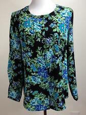 DENIM & CO L/S Longer 'Floral Printed Button Front Top' (Stretch)- M, Black Turq
