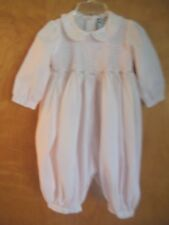 Carriage Boutiques Baby Girls 9M Pink Smocked Romper Longall, Embroidery