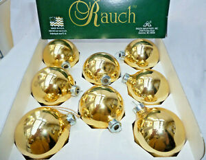 VINTAGE XMAS RETRO 8 GOLD MERCURY GLASS BALL BAUBLES in box - made in USA