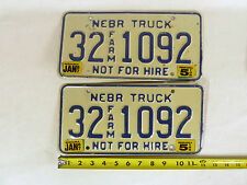 2 Matching 1987 Nebraska Farm Truck Not For Hire 5 Ton 87 License Plates 32 1092