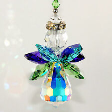 m/w Swarovski Crystal Rare Aurora Borealis Body - Peacock Color Angel Suncatcher