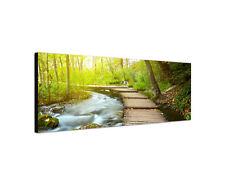 120x40cm Wandbild Leinwand Panorama Holzpfad im Park Sinus Art