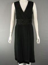 Silk V-Neck Patternless Sleeveless Dresses for Women