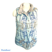J. Mclaughlin Women's Reversible Down Vest Dove Gray Print Snaps Zips Size Small