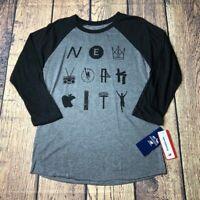 New Balance Mens Small NYCM Marathon TCS Raglan 3/4 Sleeve T Shirt New