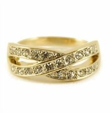 Adjustable Gold Coloured Infinity Style Ring with Clear Diamante Crystal Stones