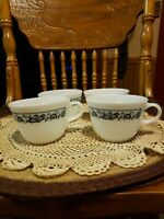 Lot of 4 Vintage Pyrex Corning Milk Glass Old Town Blue Onion Coffee Mugs Cups