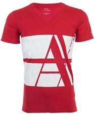 Armani Exchange BOLD STRIPED Mens Designer T-SHIRT Premium RED Slim Fit $45 NWT